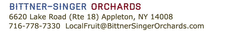 Bittner-Singer Orchards 6620 Lake Road, Appleton NY 14008, 716-778-7330